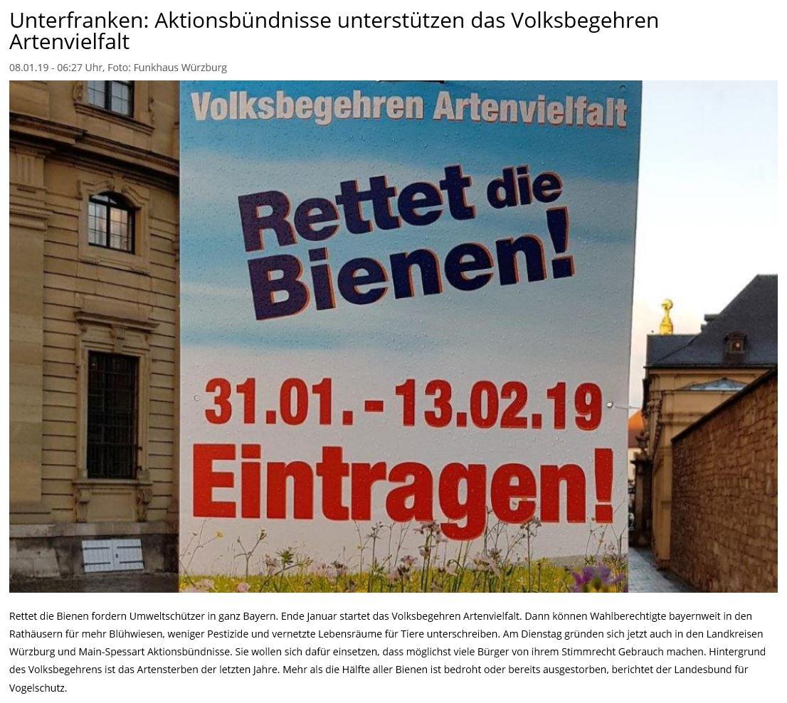 mainfranken 24 berichtete über die Gründung unseres Aktionsbündnis im Landkreis -8.1.2019