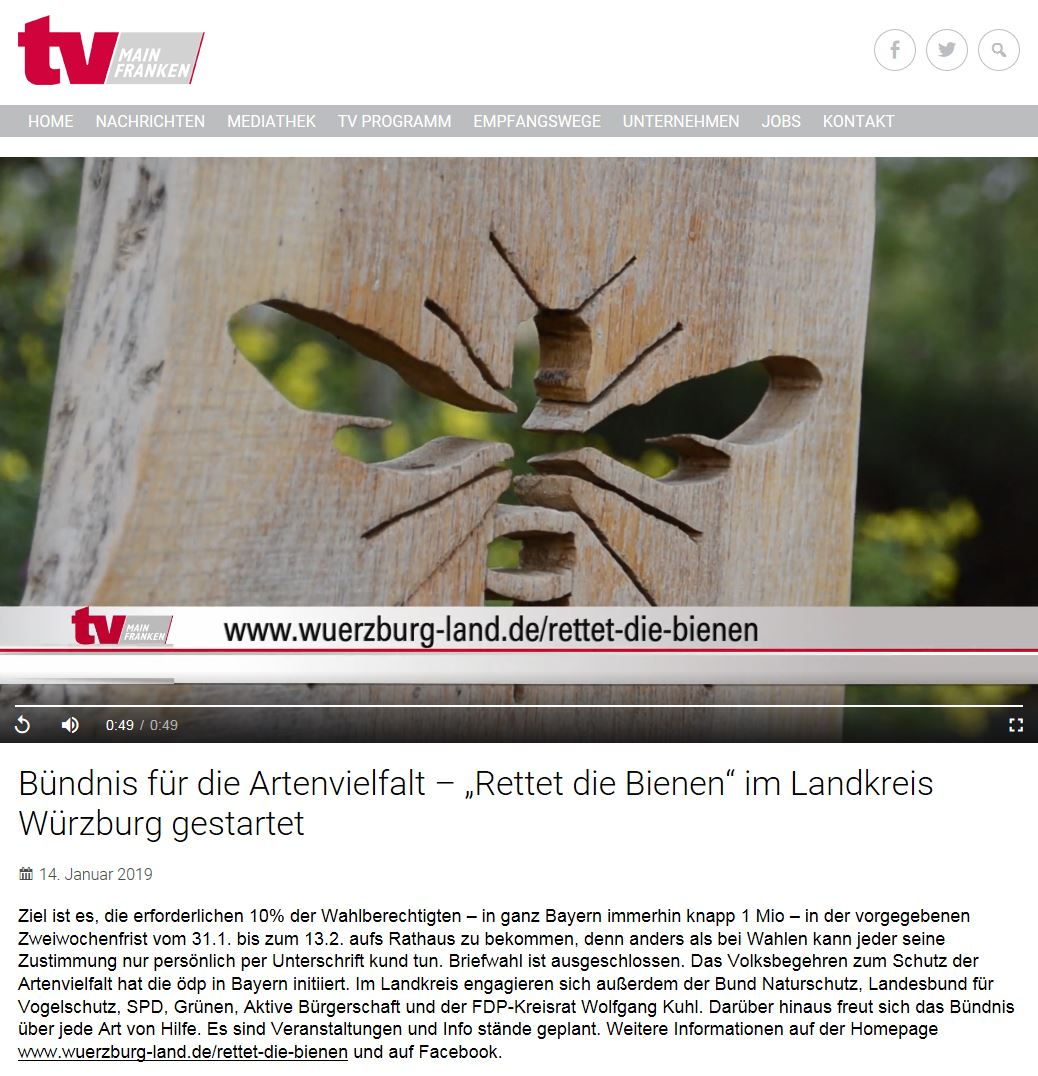 TV Mainfranken berichtet über die Gründung des Aktionsbündnis Rettet die Bienen im Landkreis - 14.1.2019